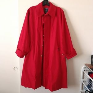 🍁S Faconnable Long Red raincoat belt A-line Fall